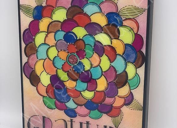 "Gratitude flower watercolor art 8x10"""
