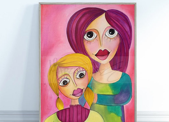 "Mother and Daugther / Original painting / 16""x 20"""