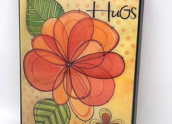 """Hugs flowers watercolor art 8x10"""""""