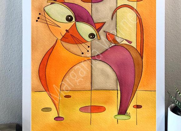 "Cat and bird watercolor fine art print 8x10"""