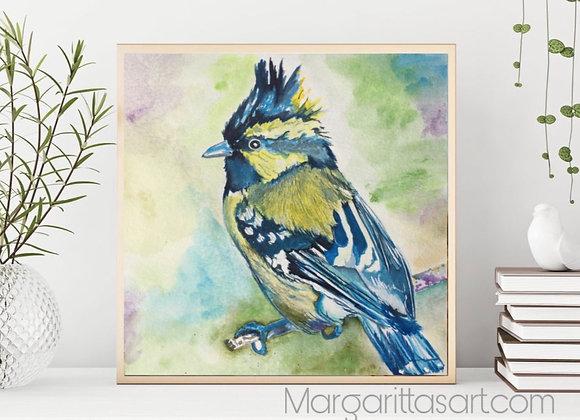 """Bird Watercolor Art 8x8"""""""