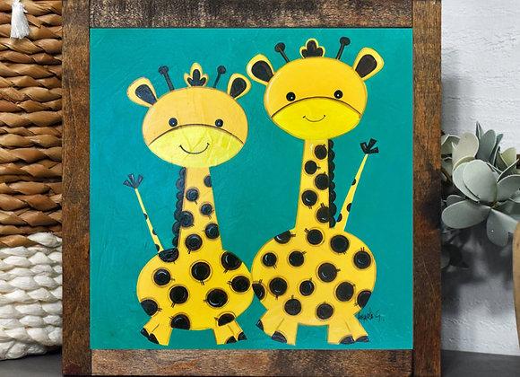 "Giraffes acrylic 8x8"""