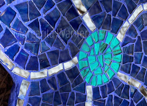 Wall Mosaic Art Teal Flower