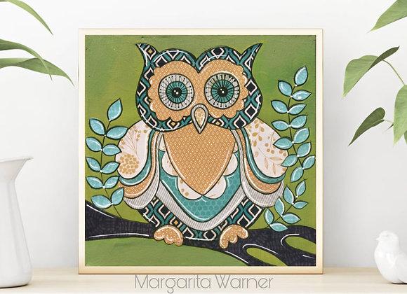 "Owl Collage Art 8x8"""