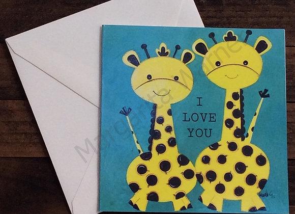 """I Love You Giraffes/Gretting Card /6x6"""""""