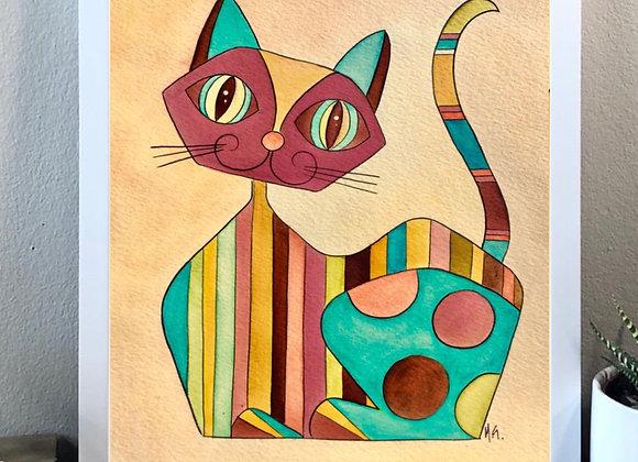"Cat and lines watercolor fine art print 8x10"""