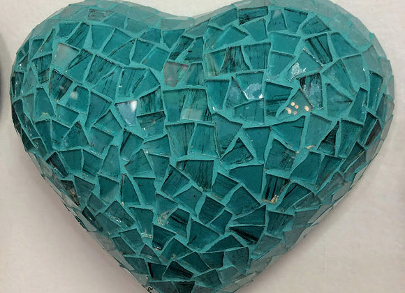 Teal Small Glass Mosaic Heart