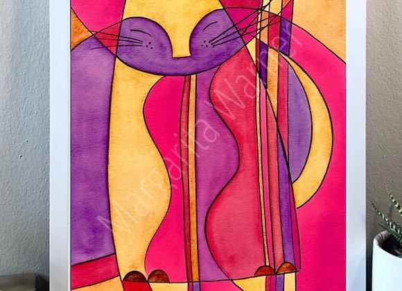 "Cat dream watercolor fine art print 8x10"""
