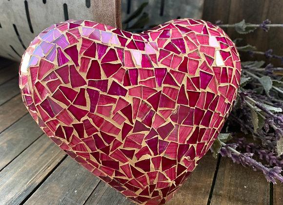 Pinks Heart mosaic wall art