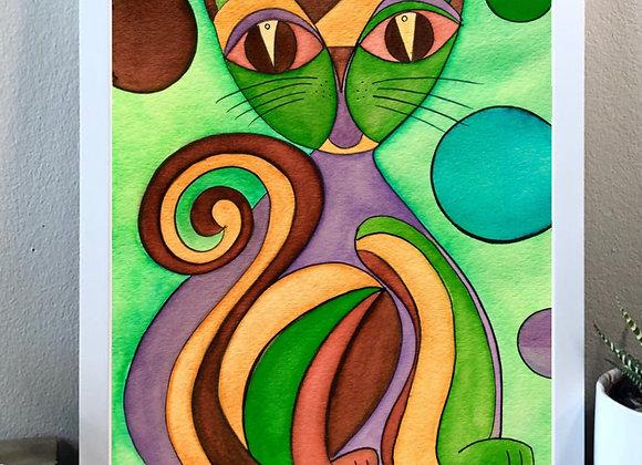 "Cat giving watercolor fine art print 8x10"""