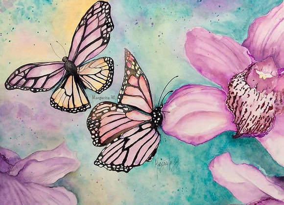 Orchids and Butterflies watercolor painting