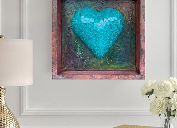 "Looking Glass Mosaic Heart / Wall Decor / 12"" x 12"" x 2"""