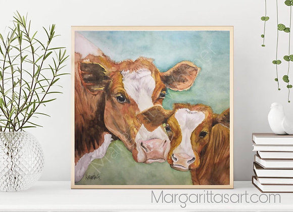 Mother & Daugther Cow Wall Art