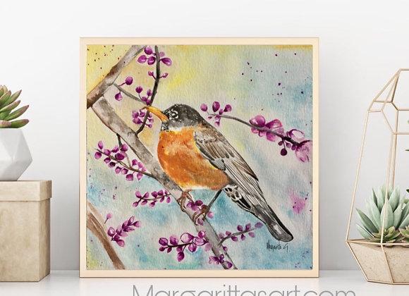 "Bird  Watercolor fine art print 8x8"""