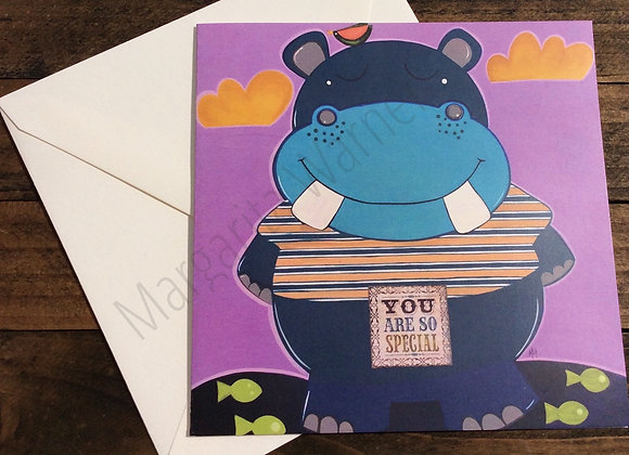You Are So Special / Hippo Art / Gretting Card /6x6""