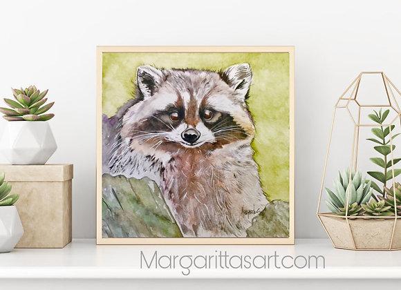 """Racoon Watercolor art 8x8"""""""