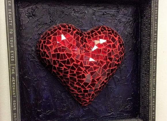 """Love in Paris Mosaic Heart/ Wall Art Decor / 12""""x12""""x2"""""""