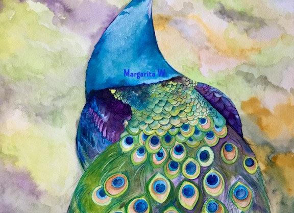 Peacock watercolor art