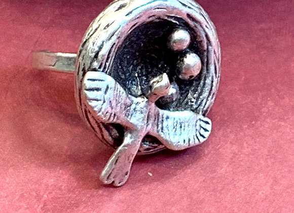 Bird Nest Silver plated Ring