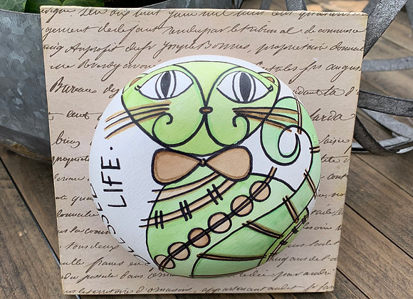 Blessed Life cat clay art