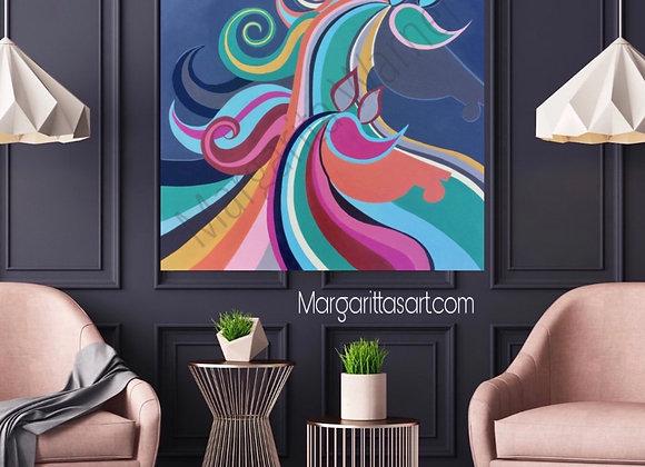 "Horse Art / Original Painting / 36 x 36 x 1.5"""