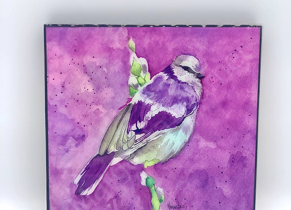 "Purple Bird art 8x8"""