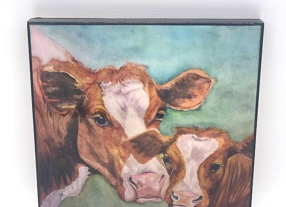 """Cows in the farm art 8x8"""""""