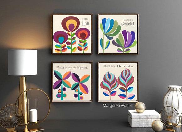 4x Ofiice Decor Motivational Wall Art Canvas Prints