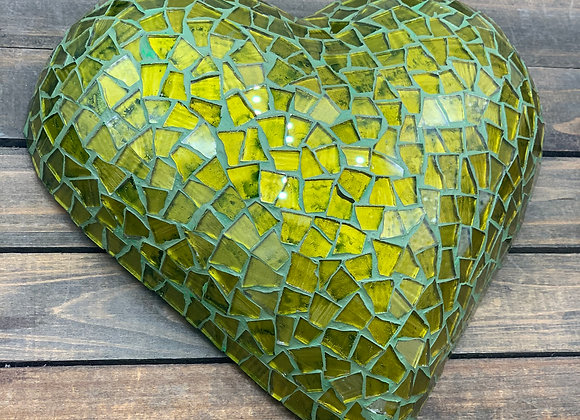 Hand-Crafted Mosaic Green Heart