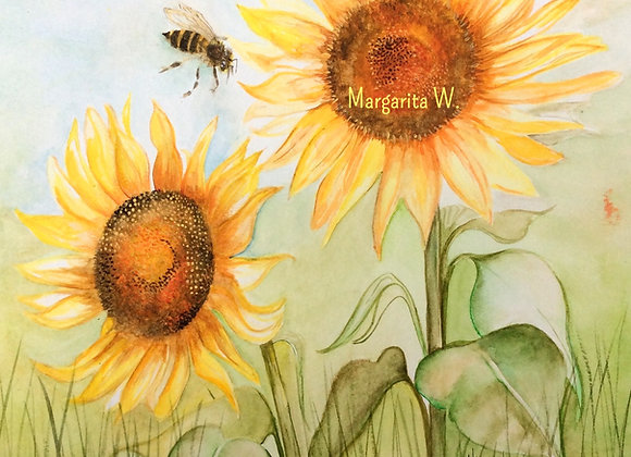 Sunflowers with bees Watercolor