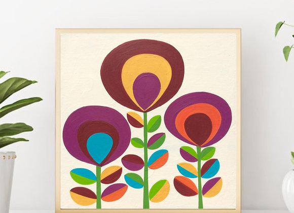 "Flowers Acrylic fine Art prints 8x8"""