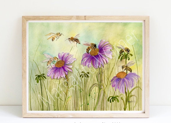 "Bees/coneflowers 8x10"""