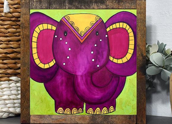 Elephant in Purpple Acrylic art