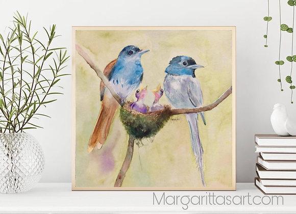 "Birds Nest Watercolor fine art print 8x8"""