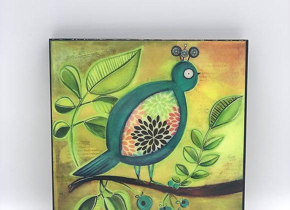 """Teal Bird art 8x8"""""""
