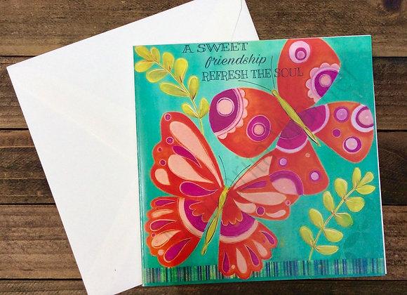 """Sweet Friendship / Butterflies Art / Gretting Card / 6x6"""""""