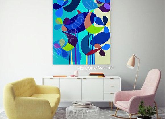 "Garden Birds / Original painting /24 x 36 x 1.5"""