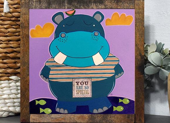 HIPPO ACRYLIC ART