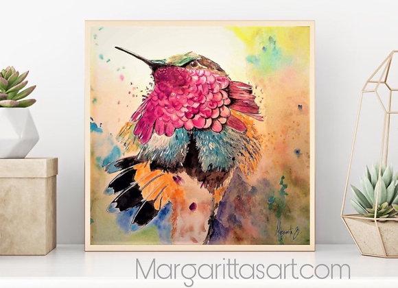 "Hummingbird Watercolor 8x8"""