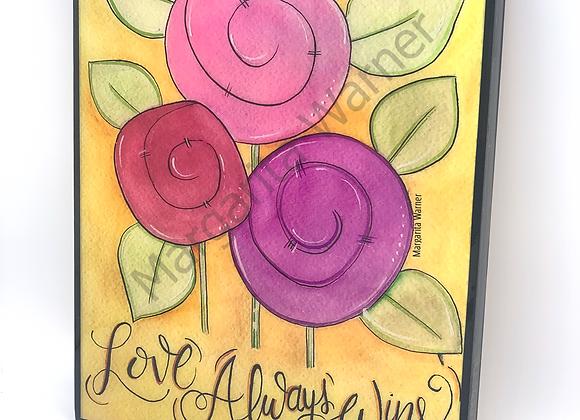 """Love wins Flowers watercolor art 8x10"""""""