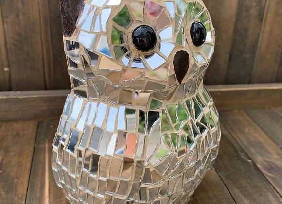 Wall mosaic art looking glass owl