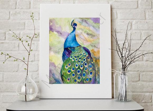 """Peacock Watercolor Art 8x10"""""""