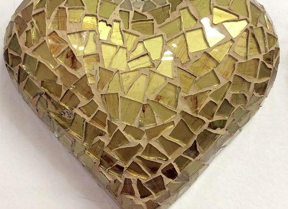 Artisanal Golden Mosaic Heart