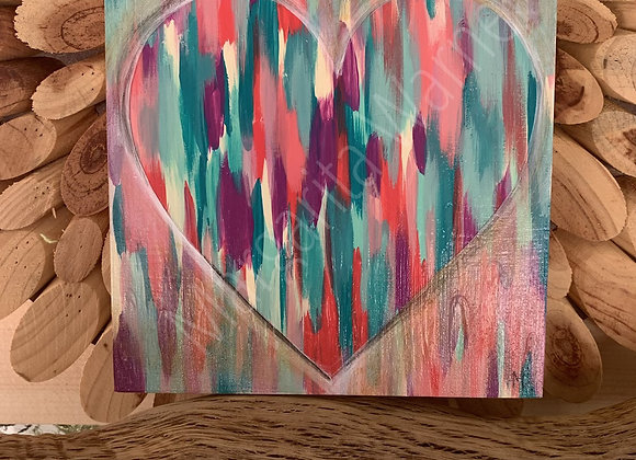 "love you heart #3 6x6"" original painting"