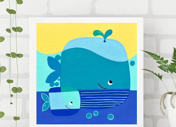 "Whale Acrylic fine art print 8x8"""