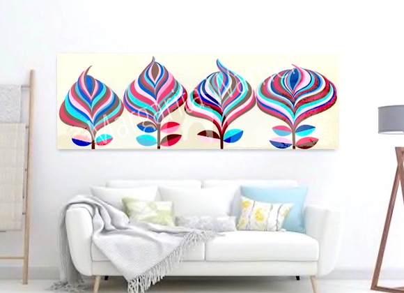 "Blooming / Stripes Original Painting / 40"" X 16""X1.5"""
