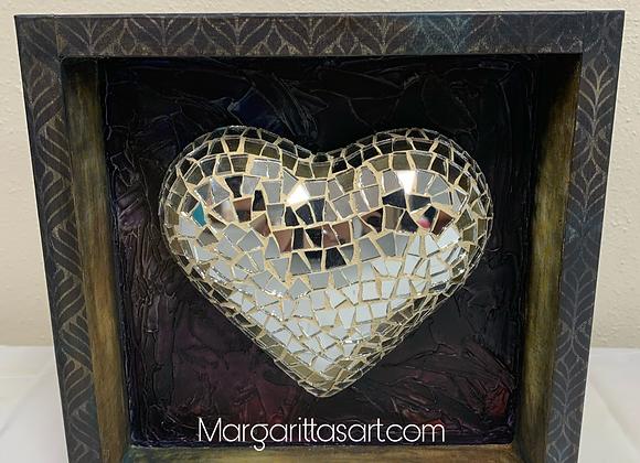 "Looking Glass framed Heart 9x9x2"""