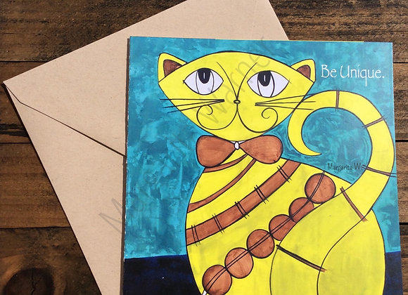 Be Unique Card / Cat Art / Gretting Card / 6x6