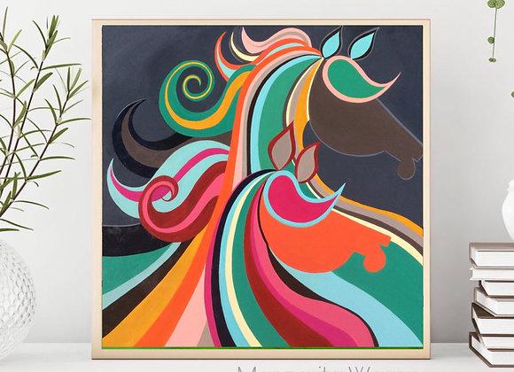 "Horses Acrylic  8x8"""