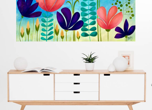 "Flower in paradise 24X48"" Original painting"